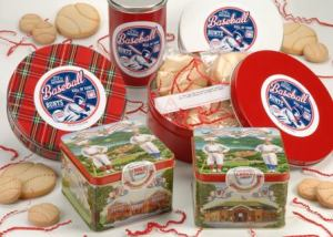 Baseball cookies packaged in special National Baseball Hall of Fame tins, a great way to celebrate an upcoming trip to Cooperstown
