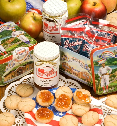 Enjoy Baseball Cookies in a Cooperstown tin and a delicious jar of Apple Pie Jam